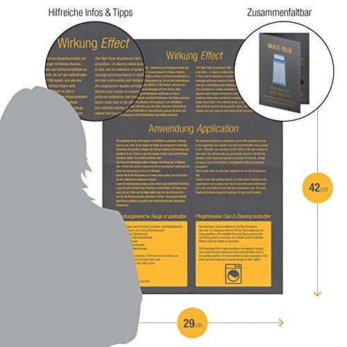 High Pulse Tapis d'acupression avec coussin acupression et bague acupression + poster - Matelas d'acupression pour soulager les douleurs et les courbatures