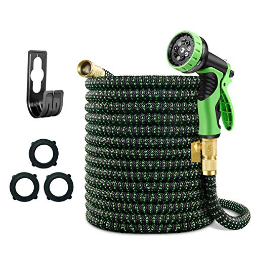 Mlife 100 FT Expandable Garden Hose, Flexible Water pipe with Three Latex Core, 3/4'' Solid...