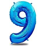 envami Ballon Anniversaire 9 Ans Bleu - 101 CM Ballon Chiffre - Deco Kit Anniviersaire Garçon - Happy Birthday Decoration - Ballon Joyeux Anniversaire - Vole Grâce à l'Hèlium