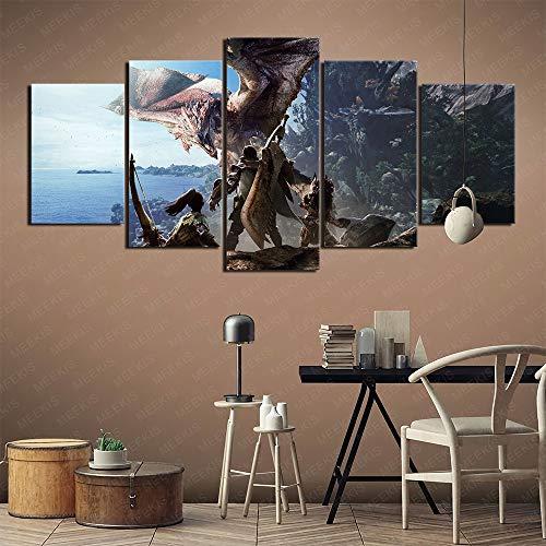 GBxebenYN02 Modedekoration 5 Stück fünfteiliges Leinwandbild Monster Hunter World Club Bar 150x80cm rahmenloses Gemälde