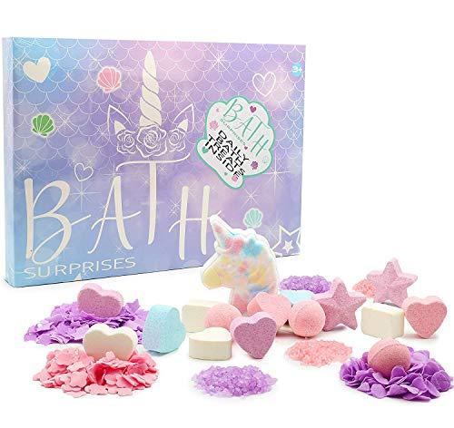 KreativeKraft Set De Bombas De Baño De Unicornio para Niñas | 24 Piezas De Bombas De Baño Multicolor | Bombas De Baño, Confeti Y Sales De Baño | Idea De Regalos para Mujer | Bombas Baño Niños