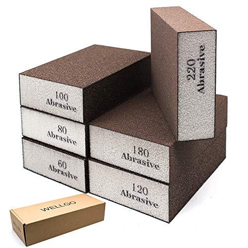 Wellgo 6 Pack Sanding Sponges,Coarse & Fine Sanding Blocks in 60/80/100/120/180/220 Grit Assortment- Great for Pot Brush Pan Brush Sponge Brush Glasses Sanding Wood Sanding Metal Sanding (6 Pack)