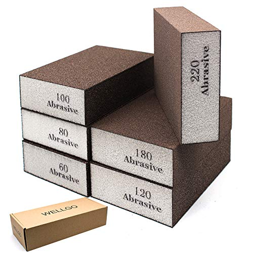 Wellgo 6 Pack Sanding Sponges,Coarse & Fine Sanding Blocks in 60/80/100/120/180/220 Grit Assortment- Great for Pot Brush Pan Brush Sponge Brush Glasses Sanding Wood Sanding Metal Sanding (6 Pack)