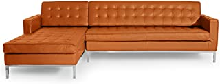Kardiel Florence Knoll Style Sofa Sectional Left, Caramel 100% Full Premium Leather