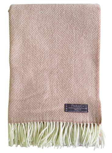 Lange Fischgrat Wolldecke aus 100prozent neuseeländischer Schurwolle Ökotex 100 (130 x 220 cm, Nude - Creme) Altrosa Decke Wolle Plaid Kuscheldecke Sofadecke Wohndecke Tagesdecke