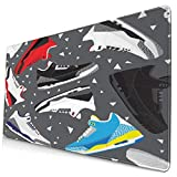 Retro Basketball Shoes Sneakers Large Gaming Mouse Pad, Extended Mouse Mat with Non Slip Rubber Base, Water-Proof Keyboard Pad for Computer, Laptop and Pc. 15.8x29.5inch