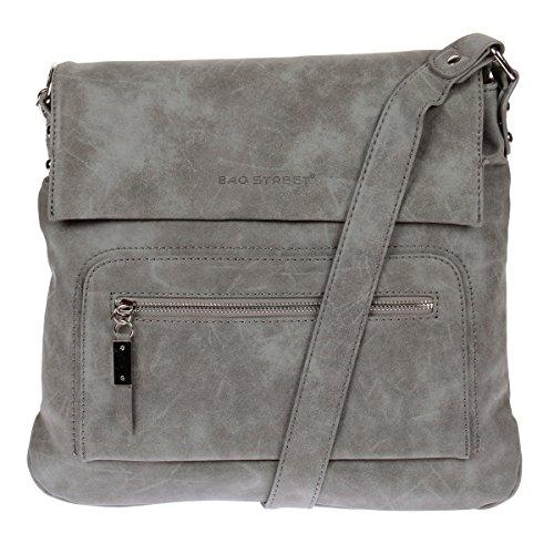 3423 Schultertasche Used Look Handtasche Umhängetasche Shopper Tasche Bag Street (Grau)