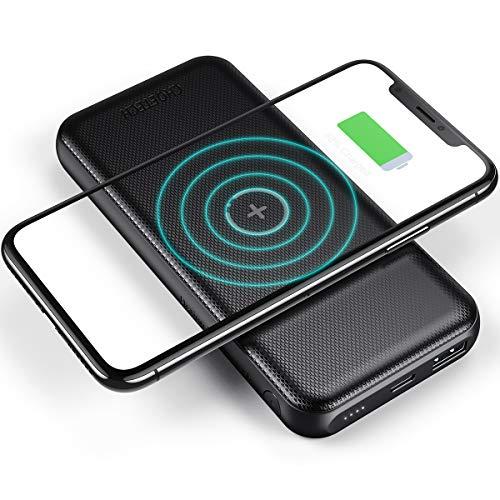 CHOETECH 10000mAh Wireless Powerbank, USB C PD 18W & USB A QC 3.0 Wireless Ladegerät mit 10W Schnellladung Tragbarer Externer Akku für iPhone SE/11/XR/X/8, Galaxy S20/S10/S9/S8/Note 10, Huawei