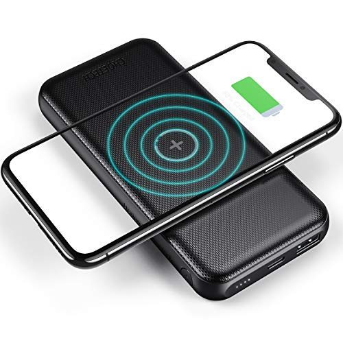 CHOETECH Batería Externa Inalámbrica 10000mAh, Batería Portátil PD 18W & QC 3.0, Wireless Charger con Powerbank (10W MAX) para iPhone 12/11/SE 2/XR/X/8, Samsung S20/S10/S9/S8/Note 20, Huawei ect.