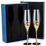 Sziqiqi 2 Pezzi Flute da Champagne con Confezione Regalo Bicchieri di Vino Creativo Ad Alta qualità, Bicchiere di Champagne, Bicchiere a Calice, Coppa Nuziale per la Festa Anniversario Matrimonio