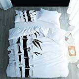 Juego de funda de edredón de 3 piezas con estampado de bambú, microfibra suave, para dormitorio, habitación de invitados, habitación de los niños