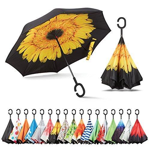 seitenverkehrt Regenschirm, Best winddicht Regenschirm, Autos Rückseite Regenschirm, schöne Regen Regenschirm mit UV-Schutz, umgedreht Regenschirm mit C-förmigem Griff und Tragetasche, Gelb, Blumen