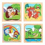 Hillento Rompecabezas de Madera Rompecabezas para niños pequeños niños - Juguetes educativos de Aprendizaje Seguro para los niños, Juego de 4 (Gallo, el cocodrilo, Ardilla, Erizo)