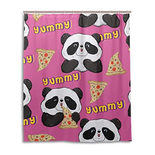 XiangHeFu Wasserdichter 100prozent Panda Eat Pizza mit Haken Dekor Startseite Khaki Duschvorhang 60 (W) x 72 (L) Zoll