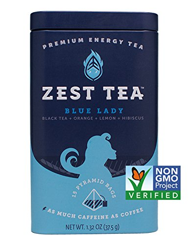 Zest Tea Premium Energy Hot Tea, High Caffeine Blend Natural and Healthy Traditional Black Coffee Substitute, Ultimate Sampler Variety Pack, Top 4 Flavors, 60 Sachet (4 Tins)
