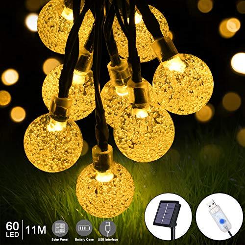flintronic Solar Lichterketten, 11M 60LEDs USB Solar Lichterkette Aussen 3 Lademethoden, IP64 Wasserdicht, 8 Modi Lichterkette Außen für Garten, Bäume, Weihnachten, Hochzeiten, Partys - Warmweiß