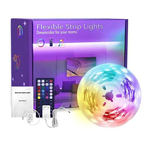 Striscia LED 5M, BRIMAX 5050 RGB Nastri LED con 44 Tasti Telecomando IR, Sincronizza con Musica, Luce LED per Decorazioni, TV, Cucina, Bar, Natale, Halloween e Feste, 12V, 3A