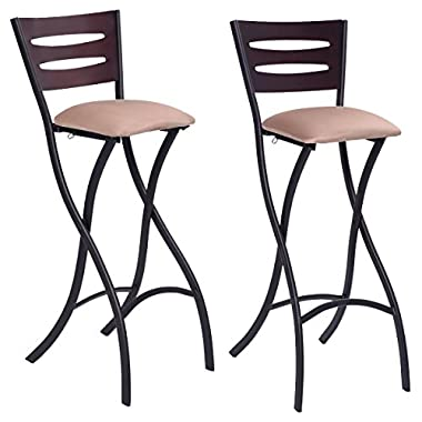 COSTWAY Set Of 2 Folding Counter Bar Stools Bistro Dining Kitchen Pub Chair Furniture, 29.9