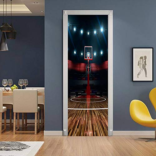 Pegatinas de puerta 3D, pegatinas de arte mural autoadhesivas, dormitorio, sala de estar, oficina, baño, decoración del hogar, cancha de baloncesto