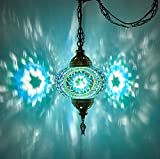(8 Colors) DEMMEX Turkish Moroccan Mosaic Swag Plug in Pendant Ceiling Hanging Light with 15feet Cord Decorated Chain & North American Plug (Teal - 6' Diameter)