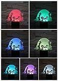 Chien Table Lampe De Chevet 3D Illusion 7 Changement de Couleur Hangar Lampe Décorative Enfants Enfants Bébé Kit Veilleuse Led Chien Cadeau, Roman cadeau