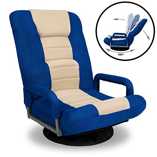 Best Choice Products Multipurpose 360-Degree Swivel Gaming Floor Chair w/Lumbar Support, Armrest Handles, Foldable Adjustable Backrest - Blue/Beige blue chair gaming