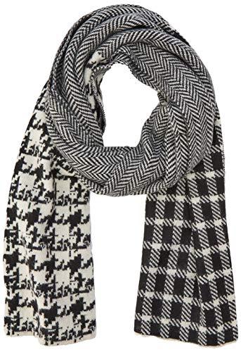 comma Damen 81.911.91.3439 Schal, Mehrfarbig (Grey/Black Knit 99x2), (Herstellergröße: One Size)