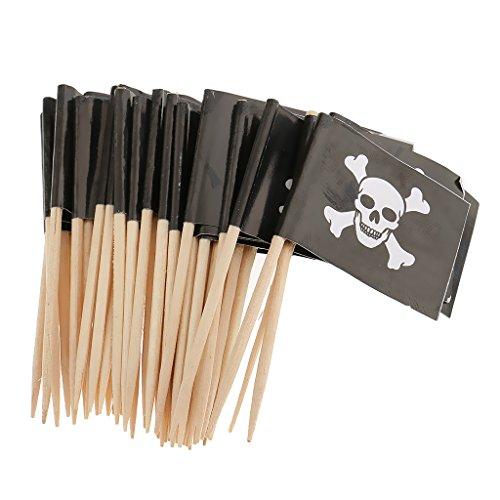 Baoblaze 20x Pirat Flagge Kuchen Picks Cupcake Topper Torten Dekoration für Geburtstag Halloween Taufe usw. - Schädel