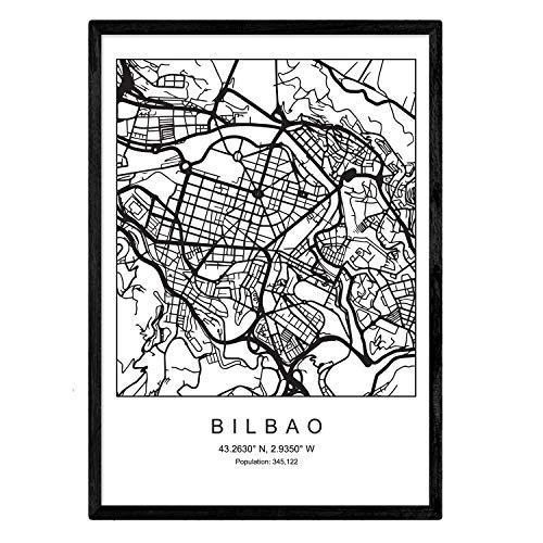 Lámina mapa de la ciudad Bilbao estilo nordico en blanco y negro. Poster tamaño A3 Enmarcado con marco negro Impreso papel 250 gr. Cuadros, láminas y posters para salon y dormitorio