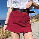 SHDSHD Falda Vaquera de Cintura Alta, Minifalda Acampanada para Mujer, Verano, Falda roja y Negra, Falda Escolar para Chica Joven, Ropa de Calle 4XL