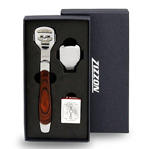 ZIZZON Foot Care Pedicure Callus Shaver Hard Skin Remover Wood Handle 10 Blades ZIZZON