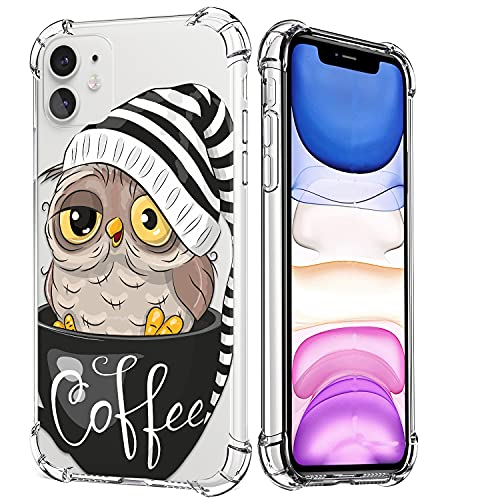 Fubido for iPhone 11 Case,Clear Owl Design Soft & Flexible TPU Thin Shockproof Transparent Bumper Protective Floral Cover Case for iPhone 11 6.1 inch 2019(Brown)