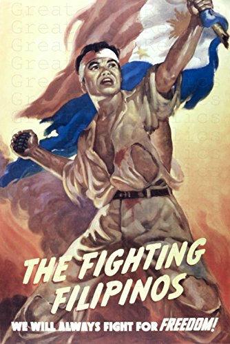 UpCrafts Studio Design The Fighting Filipinos Propaganda Poster 11.7 x 16.5 - WW2 Philippines Soldier Wall Decor for Men Room, Office, Man cave