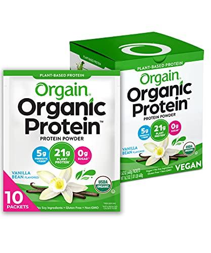 Orgain Organic Plant Based Protein Powder Travel Pack, Vanilla Bean - 5g of Fiber, No Dairy, Gluten, Soy or Added Sugar, Non-GMO, 10 Count