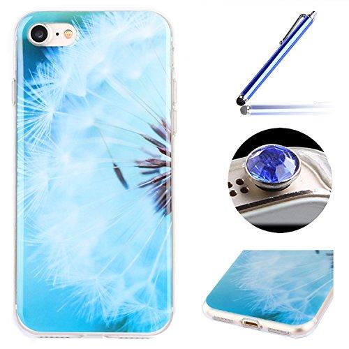 Etsue Doux Protecteur Coque pour iPhone 6/6S,TPU Matériau Frame est Transparent Soft Cover pour iPhone 6/6S,Coloré Motif par Dessin de Mode Case Coque pour iPhone 6/6S + 1 x Bleu stylet + 1 x Bling poussière plug (couleurs aléatoires)- Pissenlit