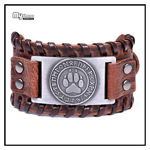 In Box Bear Paw Handmade Braided Genuine Leather Strap Wolf Claws Viking Bracelets Bangles Nordic Runes Wristbands Odin Symbol 7