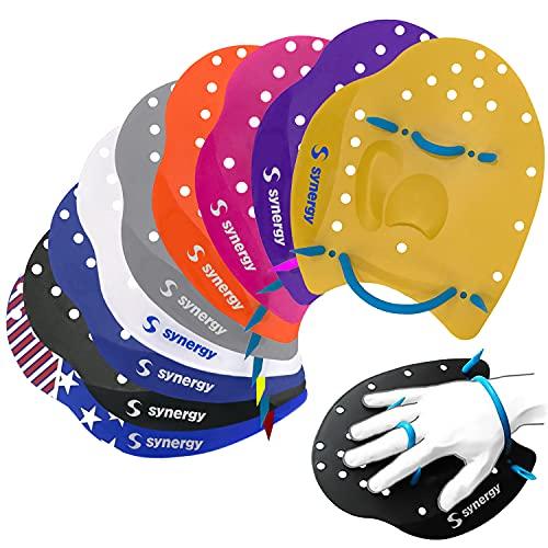 Synergy Almohadillas de mano para entrenamiento de natación (amarillo, pequeño).