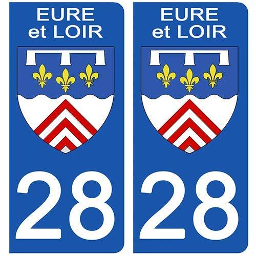 DECO-IDEES 2 Stickers pour Plaque d'immatriculation - 28 - Blason EURE et Loir- Stickers Garanti 5 Ans