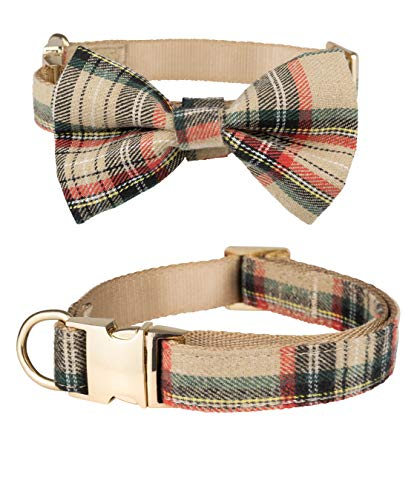 Scottish Tartan Bowtie Dog Collar with Detachable Bow Tie for Girl or Boy Dogs Comfortable Plaid Pattern, Fully Adjustable, Great Pet Gift (S, Beige)