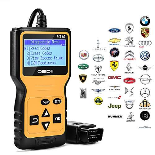 Kohree OBD2 Diagnosegerät Auto, DiagnoseScannerobd2, Auslesegerät Auto Universal Handscanner 16-Pin OBDII-Schnittstelle KFZ-Diagnosegerät für Lesen und Löschen Fehlercode und Batterie Test, vw Audi