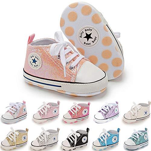BiBeGoi Baby-Sneaker für Jungen und Mädchen, aus Segeltuch, hohe Schnürung, Freizeitschuhe für Neugeborene, Krippenschuhe, Lauflernschuhe, Schwarz - C01 Pailletten Pink - Größe: 12-18 Monate