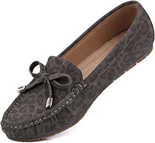 sorliva Women's Suede Breathable Leather Driving Moccasins Slip-On Penny Leopard Loafers Boat Shoes Flats Office Basic Shoes