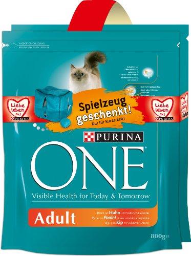 ONE Volwassen kip 2 x 800g kattenvoer van Purina met gratis pluche dobbelstenen pak van 4 (4 x 1,6 kg)