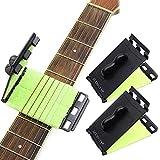 GoZheec Juego de afinador y cejilla para guitarra, afinador electrónico digital con pantalla LCD para guitarra, bajo, violín, ukelele, banjo (5 púas incluidas) (Podadora + Capo)