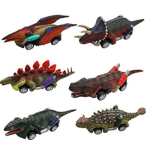 Comius Sharp 6 Pezzi Dinosauro Set Giocattolo Auto Spingi e Vai, Auto Giocattolo per Bambini Tirare Indietro Veicoli, Mini Auto Giocattolo Pull And Go Play Set