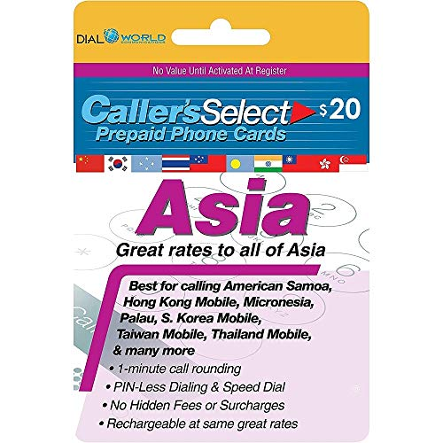 $20 Caller's Select Asia Phone Calling Card Calls to The India, South Korea, Thailand, China, Taiwan, Pakistan, Hong Kong, Indonesia, Singapore, Laos, Malaysia, Vietnam and Many More.