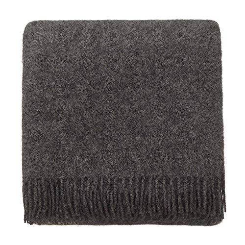 URBANARA 130x190 cm Lammwolldecke 'Miramar' Anthrazit — 100% Reine Lammwolle — Ideal als Überwurf, Plaid oder Kuscheldecke für Sofa und Bett — Warme Wolldecke mit Fransen