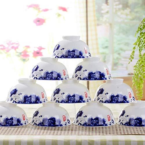 Qilo 10 Piezas Porcelana Azul y Blanca bajo vidriado Cuencos - Bone China Material - Corrosión y Resistencia al Impacto - Anti-escaldar Diseño - 4,5 Pulgadas Azul y Blanco Tazas de Arroz