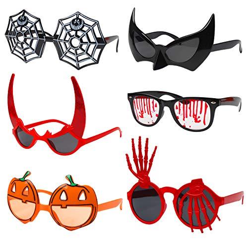 DIYASY Halloween Sunglasses,6 Pcs Halloween Party Favors Decoration Pumpkin Bat Spider Costume Toys Eyeglasses Props for Kids and Adult