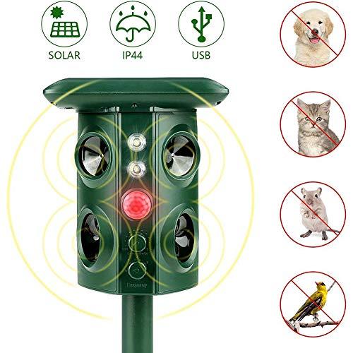 Liu Yu·casa creativa Energia Solar Repelente para, Repelente Ultrasónico para Animales, Ultrasonidos Ahuyentador De Animales Y Plagas, Impermeable, para Gatos, Perros, Aves, Ardillas, Topos, Ratas